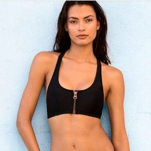 Racer Back Zip-Up Bikini Top